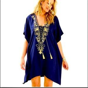 Lilly Pulitzer Chai Caftan Dress xxs/xs NWOT NAVY